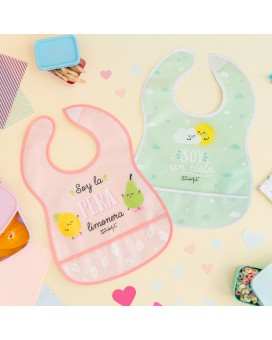 WATERPROOF PINK AND GREEN PEVA 2 BIBS PACK BY MR. WODERFUL WITH POCKET AND VELCRO FASTENER