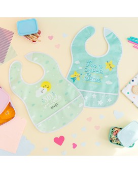 WATERPROOF TURQUOISE AND GREEN PEVA 2 BIBS PACK BY MR. WODERFUL WITH POCKET AND VELCRO FASTENER