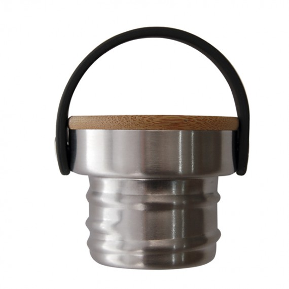 STAINLESS STEEL AND BAMBOO CAP FOR BASIC STEEL BOTTLES