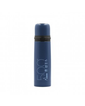 BLUE 0.5L STAINLESS STEEL THERMO LIQUIDS FLASK WITH CAP-MUG