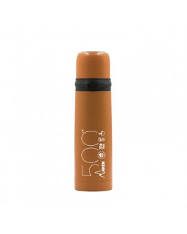 ORANGE 0.5L STAINLESS STEEL THERMO LIQUIDS FLASK WITH CAP-MUG