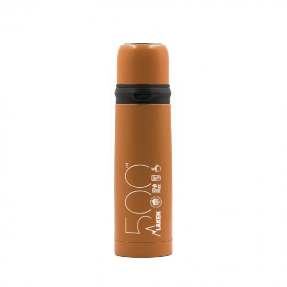 INSULATED STAINLESS STEEL ORANGE BOTTLE 0,5L WITH CAP-MUG