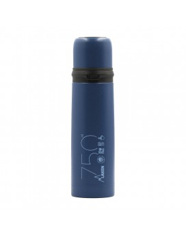 BLUE 0.75L STAINLESS STEEL THERMO LIQUIDS FLASK WITH CAP-MUG
