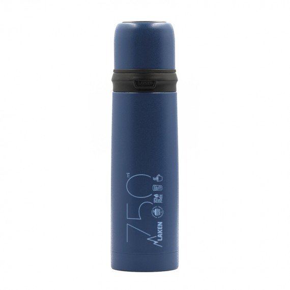 INSULATED STAINLESS STEEL BLUE BOTTLE 0,75L WITH CAP-MUG