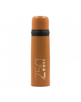 ORANGE 0.75L STAINLESS STEEL THERMO LIQUIDS FLASK WITH CAP-MUG
