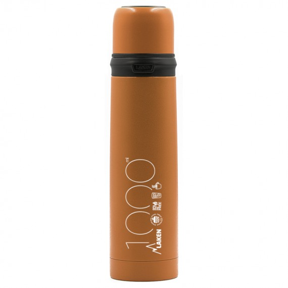 INSULATED STAINLESS STEEL ORANGE BOTTLE 1L WITH CAP-MUG