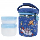 STAINLESS STEEL THERMO FOOD FLASK 1L WITH 2 INNER CONTAINERS AND ASTRO BABY NEOPRENE COVER