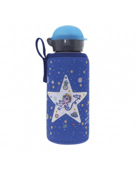 ALUMINIUM BOTTLE FOR KIDS 0.45L WITH SPACE ODDITY NEOPRENE COVER