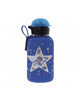 BOTELLA INFANTIL TÉRMICA DE ACERO INOXIDABLE 0,35 L TAPÓN HIT Y FUNDA DE NEOPRENO SPACE ODDITY