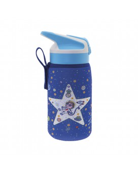 BOTELLA INFANTIL TÉRMICA DE ACERO INOXIDABLE 0,35 L TAPÓN SUMMIT Y FUNDA DE NEOPRENO SPACE ODDITY