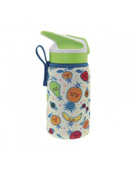 BOTELLA INFANTIL TÉRMICA DE ACERO INOXIDABLE 0,35 L TAPÓN SUMMIT Y FUNDA DE NEOPRENO FRUITUTITOS