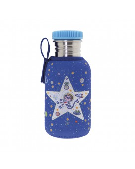 BOTELLA INFANTIL DE ACERO INOXIDABLE 0,5 L CON FUNDA SPACE ODDITY