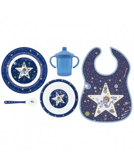 SPACE ODDITY MELAMINE TABLEWARE AND WATERPROOF BIB SET