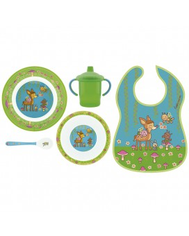 BAMBINOS MELAMINE TABLEWARE AND WATERPROOF BIB SET