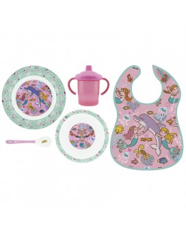 SIRENAS MELAMINE TABLEWARE AND WATERPROOF BIB SET