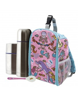 SIRENAS INSULATED BACKPACK, 0.5L THERMO LIQUIDS FLASK, 0.5L THERMO FOOD FLASK AND SPOON SET