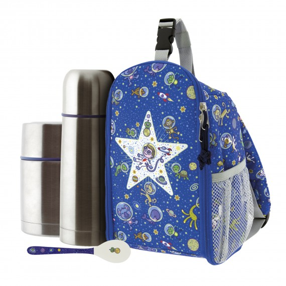 SPACE ODDITY INSULATED BACKPACK, 0.5L THERMO LIQUIDS FLASK, 0.5L THERMO FOOD FLASK AND SPOON SET