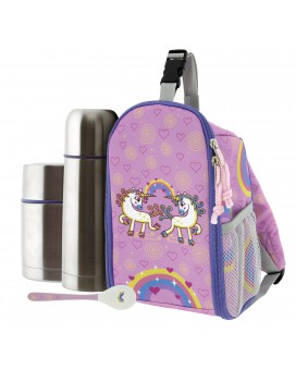 UNIC INSULATED BACKPACK, 0.5L THERMO LIQUIDS FLASK, 0.5L THERMO FOOD FLASK AND SPOON SET
