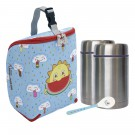 FRESKITO INSULATED BAG, 2 THERMO FOOD FLASKS (1 PIECE LID) 0.5L AND SPOON SET