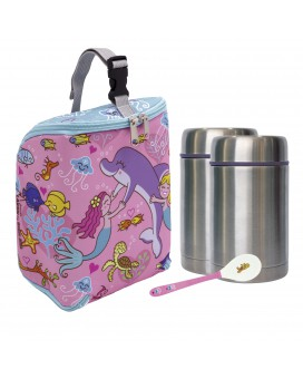SIRENAS INSULATED BAG, 2 THERMO FOOD FLASKS (1 PIECE LID) 0.5L AND SPOON SET