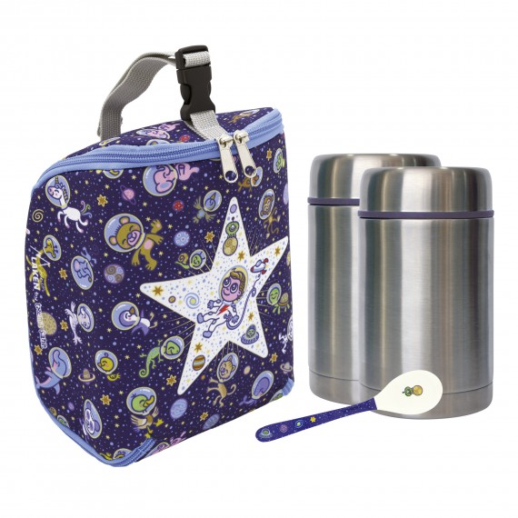 KOSMOS INSULATED BAG, 2 THERMO FOOD FLASKS (1 PIECE LID) 0.5L AND SPOON SET