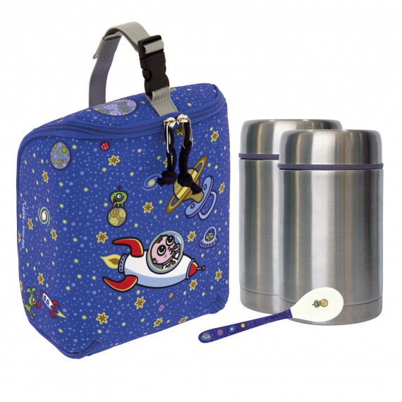 ASTRO BABY INSULATED BAG, 2 THERMO FOOD FLASKS (1 PIECE LID) 0.5L AND SPOON SET