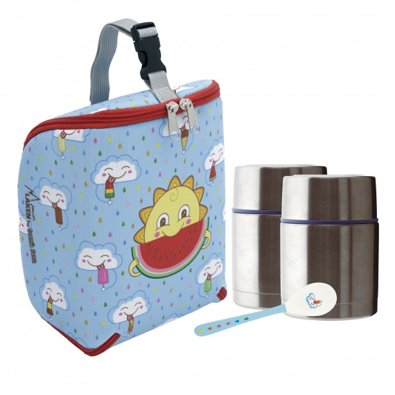 FRESKITO INSULATED BAG, 2 THERMO FOOD FLASKS (DOUBLE INNER AND OUTER LID) 0.5L AND SPOON SET