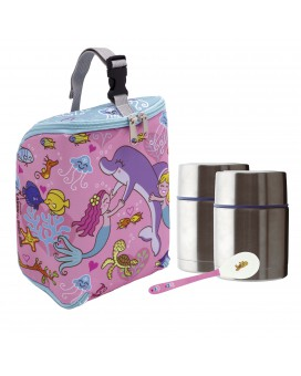 SIRENAS INSULATED BAG, 2 THERMO FOOD FLASKS (DOUBLE INNER AND OUTER LID) 0.5L AND SPOON SET