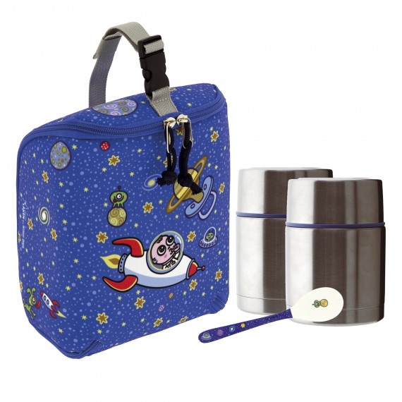 ASTRO BABY INSULATED BAG, 2 THERMO FOOD FLASKS (DOUBLE INNER AND OUTER LID) 0.5L AND SPOON SET