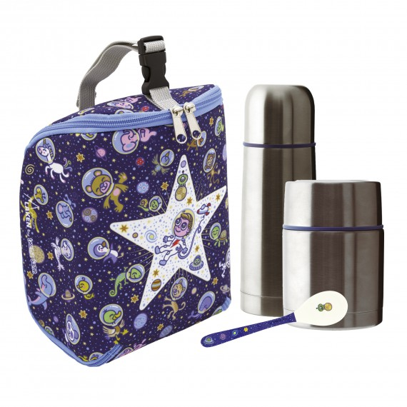 KOSMOS INSULATED BAG, 0.5L THERMO FOOD FLASK, 0.35L THERMO LIQUIDS FLASK AND SPOON SET
