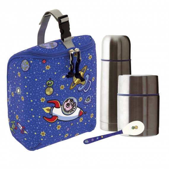 ASTRO BABY INSULATED BAG, 0.5L THERMO FOOD FLASK, 0.35L THERMO LIQUIDS FLASK AND SPOON SET