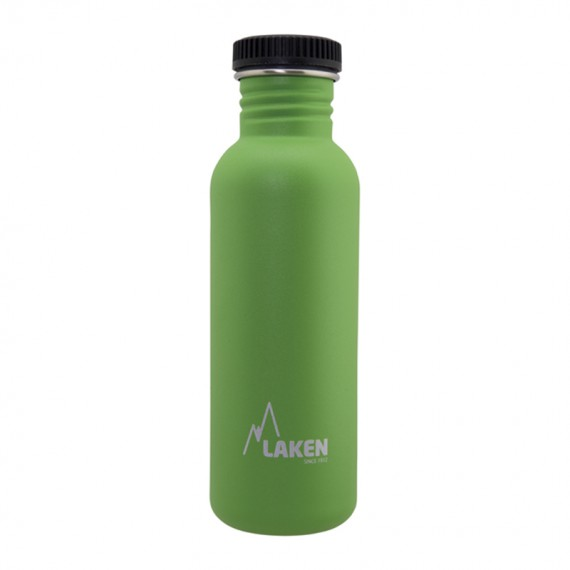 GREEN BASIC STEEL BOTTLE 0.75L BLACK CAP