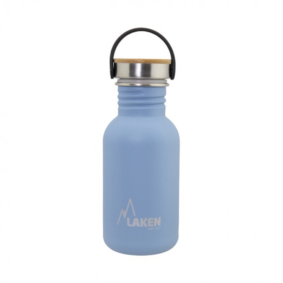 BLUE BASIC STEEL BOTTLE 0.50L BAMBOO AND STAINLESS STEEL CAP