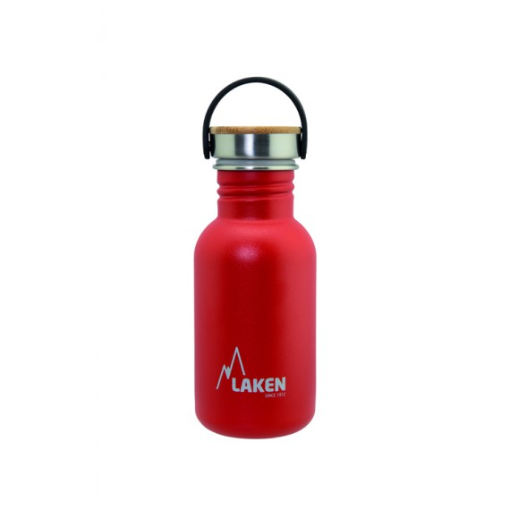 RED BASIC STEEL BOTTLE 0.50L BAMBOO AND STAINLESS STEEL CAP