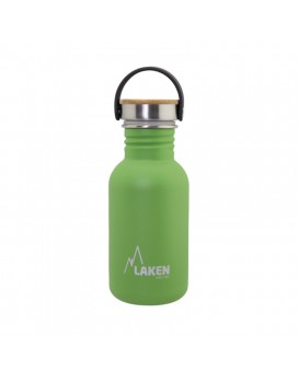 GREEN BASIC STEEL BOTTLE 0.50L BAMBOO AND STAINLESS STEEL CAP