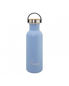 BLUE BASIC STEEL BOTTLE 0.75L BAMBOO AND STAINLESS STEEL CAP