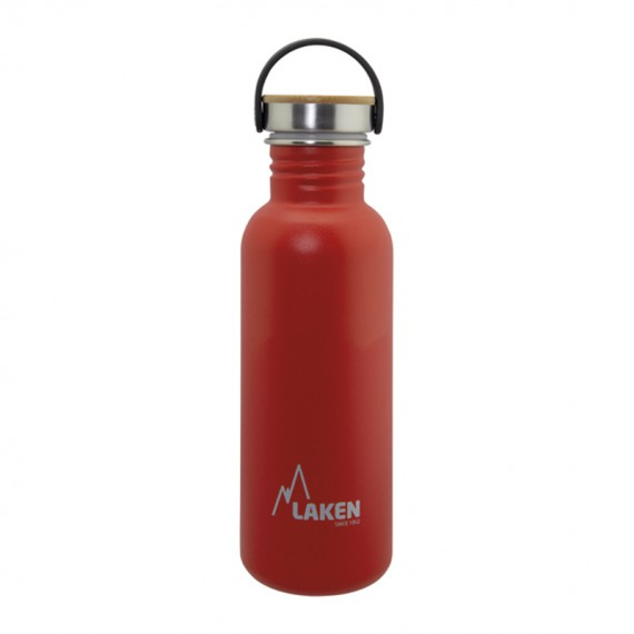 RED BASIC STEEL BOTTLE 0.75L BAMBOO AND STAINLESS STEEL CAP