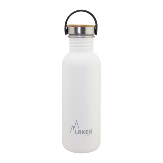 WHITE BASIC STEEL BOTTLE 0.75L BAMBOO AND STAINLESS STEEL CAP