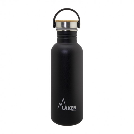 BLACK BASIC STEEL BOTTLE 0.75L BAMBOO AND STAINLESS STEEL CAP