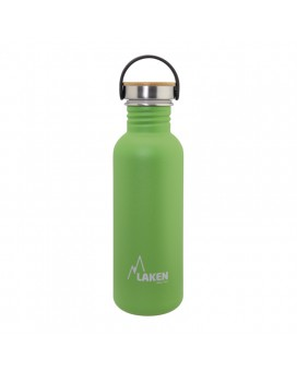 GREEN BASIC STEEL BOTTLE 0.75L BAMBOO AND STAINLESS STEEL CAP