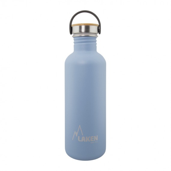 BLUE BASIC STEEL BOTTLE 1L BAMBOO AND STAINLESS STEEL CAP