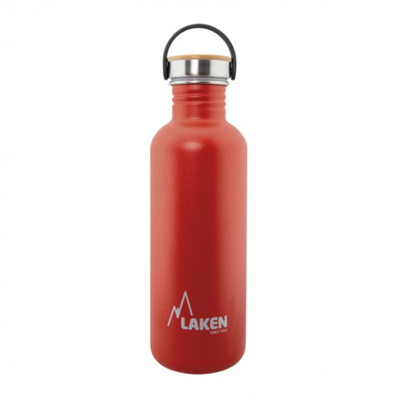 RED BASIC STEEL BOTTLE 1L BAMBOO AND STAINLESS STEEL CAP