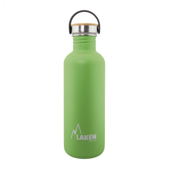 GREEN BASIC STEEL BOTTLE 1L BAMBOO AND STAINLESS STEEL CAP