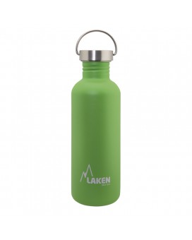 GREEN BASIC STEEL BOTTLE 1L STAINLESS STEEL CAP