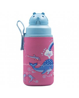 TRITAN BOTTLE 0,45L - LOVE WHALES WITH OBY CAP