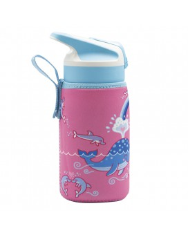 TRITAN BOTTLE 0.45L WITH SUMMIT CAP AND LOVE WHALES NEOPRENE COVER
