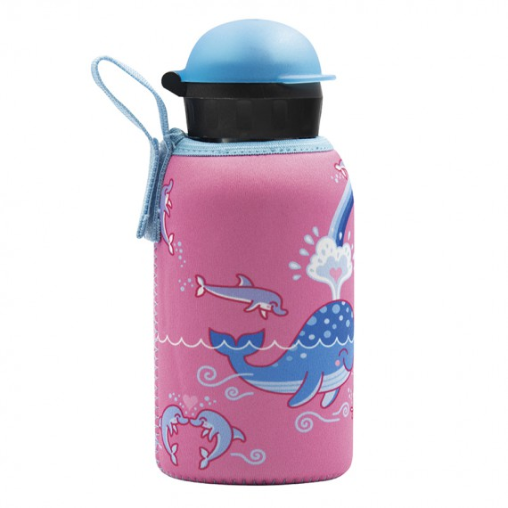 STAINLESS STEEL THERMO BOTTLE 0.35L HIT CAP WITH LOVE WHALES NEOPRENE COVER