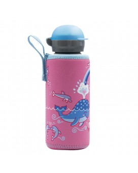 ALUMINIUM BOTTLE FOR KIDS 0.45L WITH LOVE WHALES NEOPRENE COVER