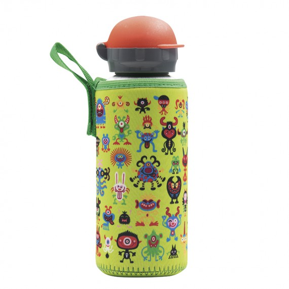ALUMINIUM BOTTLE FOR KIDS 0.45L WITH PEKEMONSTERS NEOPRENE COVER