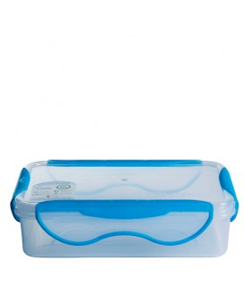 PP lunchbox 0,90 L. blue lid - Rectangular